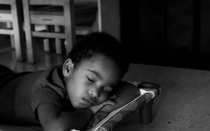 A child takes a nap